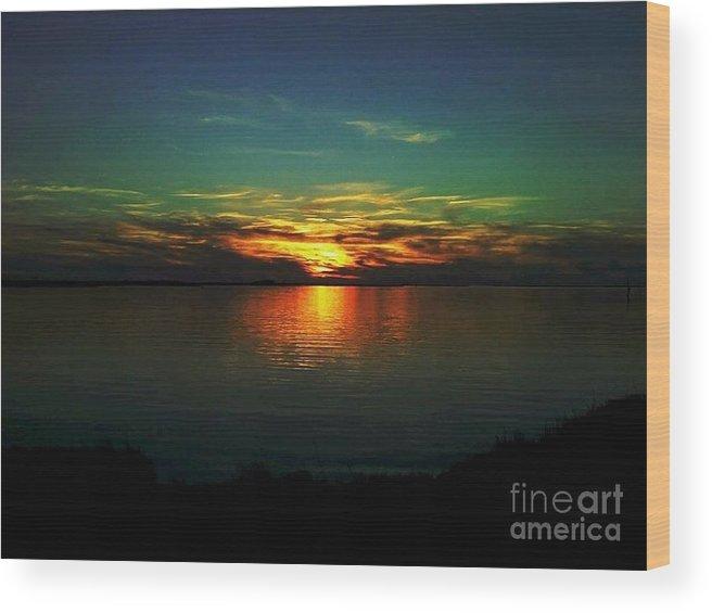 Sunset Wood Print featuring the digital art Sunset by Dawn Johansen