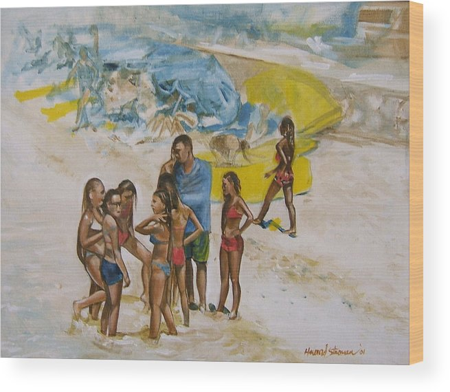 On The Beach Wood Print featuring the painting Untitled 5 by Howard Stroman
