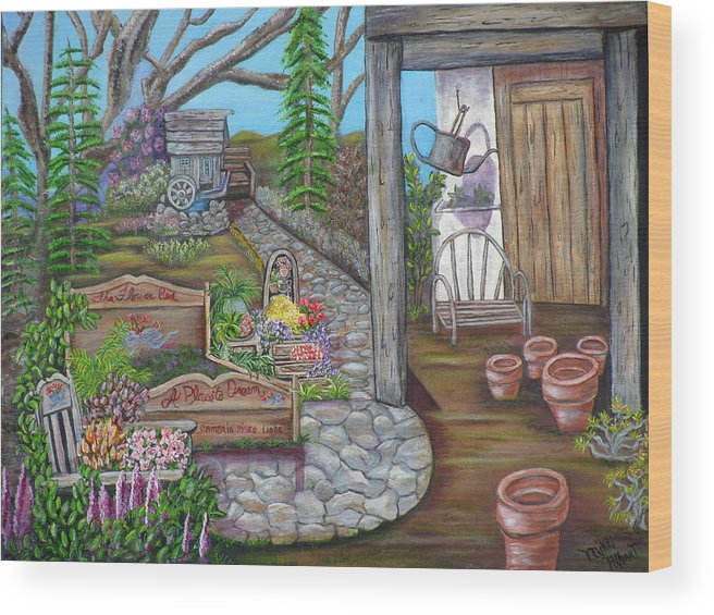 Formal Gardens Wood Print featuring the painting A Place to Dream by Mikki Alhart