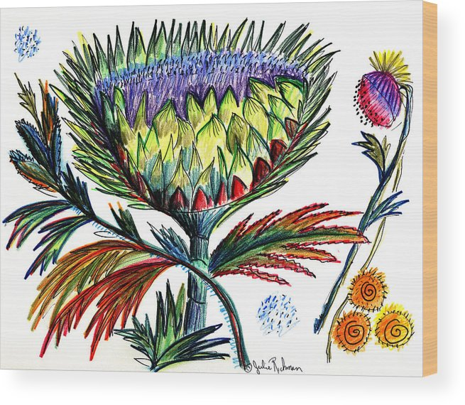 Flowers Wood Print featuring the painting A Thistle by Julie Richman