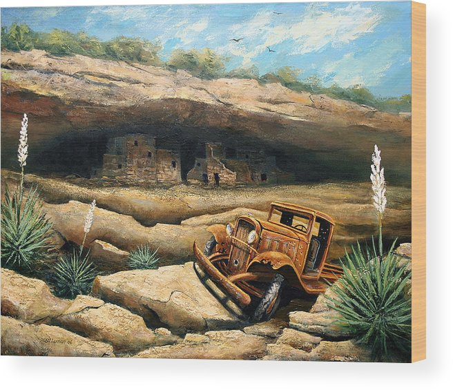 Landscape Wood Print featuring the painting Abandoned by Brooke Lyman