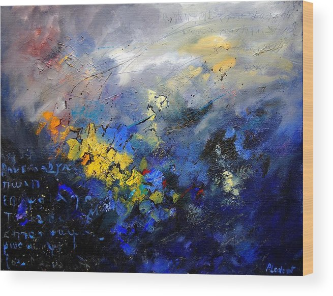 Abstract Wood Print featuring the painting Abstract 970208 by Pol Ledent