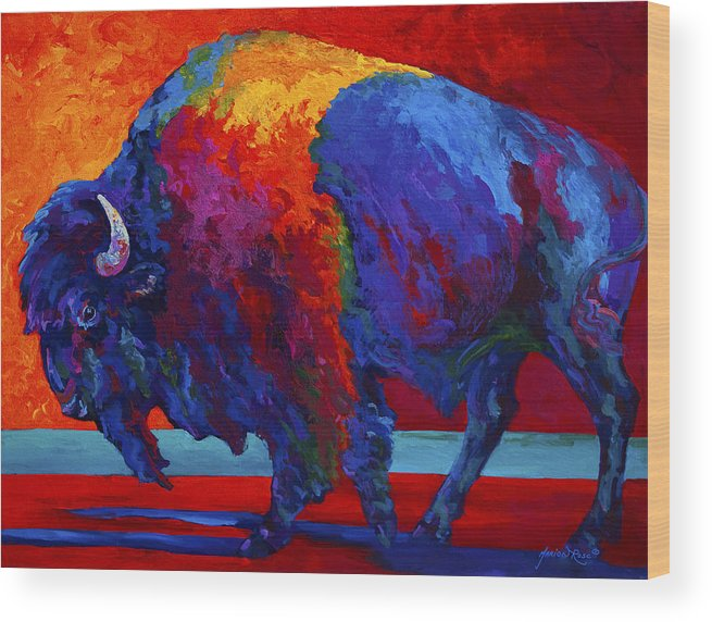 Bison Wood Print featuring the painting Abstract Bison by Marion Rose