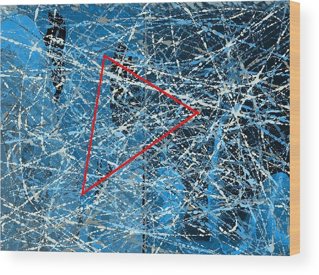 Abstract Wood Print featuring the digital art Abstract in blue and red by Joseph Ferguson