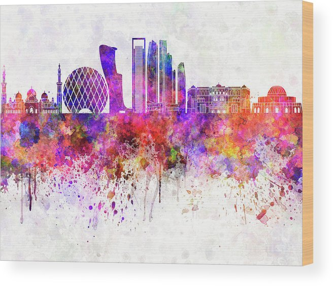Abu Dhabi V2 Skyline In Watercolor Background Wood Print By Pablo Romero