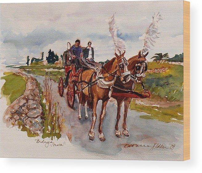 Landscape Wood Print featuring the painting Afternoon coachride by Doranne Alden