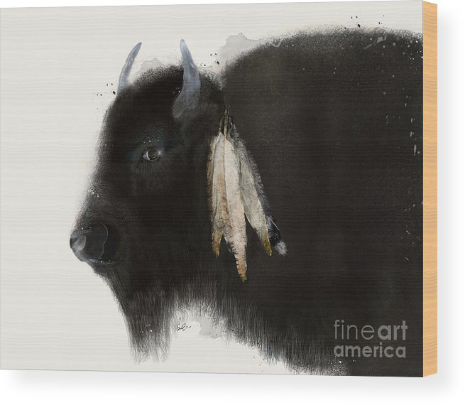 Buffalo Wood Print featuring the painting American Buffalo by Bri Buckley