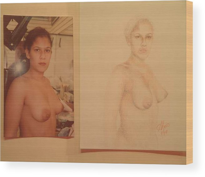 Nudes Wood Print featuring the painting Anna by Benito Alonso