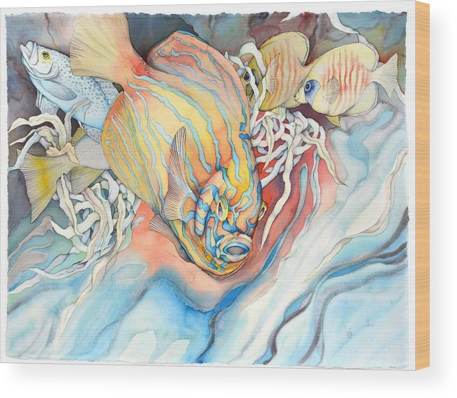 Fish Wood Print featuring the painting Another fish dimension by Liduine Bekman