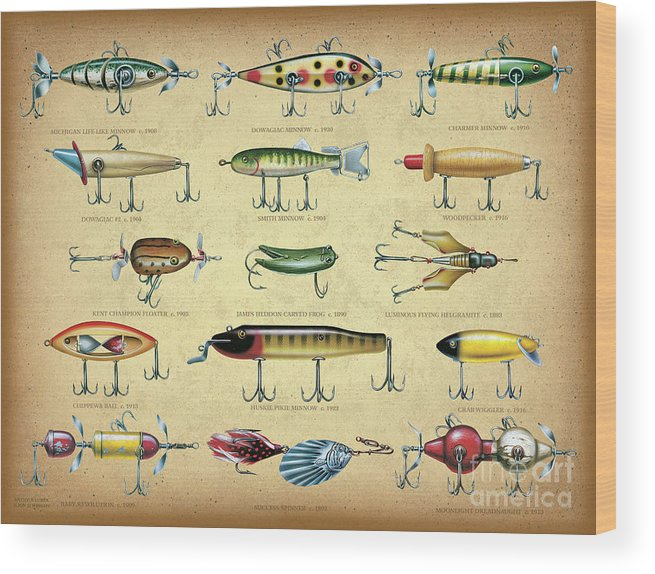 Jon Q Wright Wood Print featuring the painting Antique Lures Brown by JQ Licensing