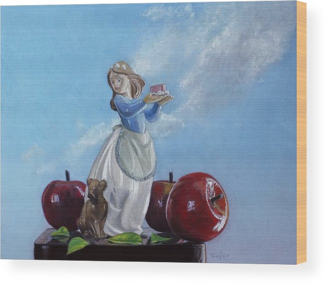 Apples With Figurine Wood Print featuring the painting Apples with Figurine by Robert Tracy