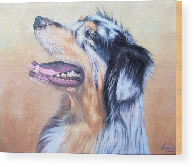 Dog Wood Print featuring the painting Australian Shepherd Dog by Nicole Zeug