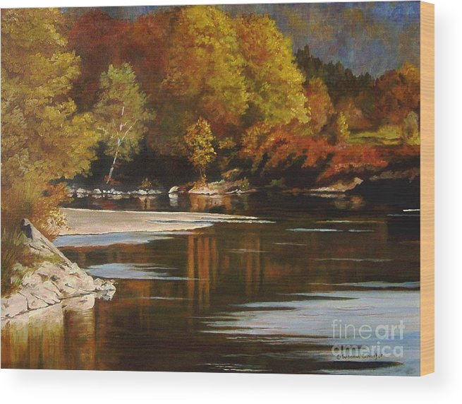 Scene Wood Print featuring the painting Autumn Along the Stillaguamish by Suzanne Schaefer