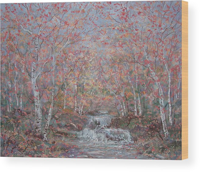 Landscape Wood Print featuring the painting Autumn Birch Trees. by Leonard Holland
