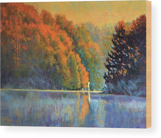 Impressionism Wood Print featuring the painting Autumn Day Rising by Keith Burgess