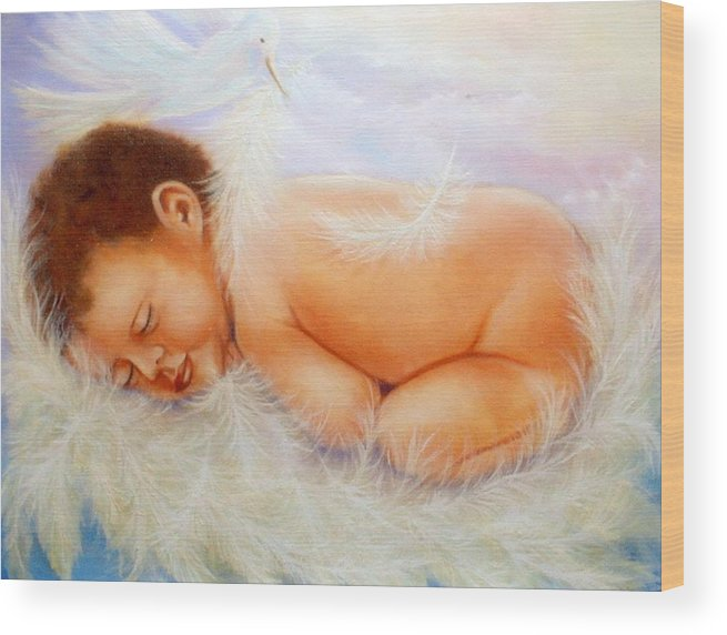 Portrait Wood Print featuring the painting Baby Angel Feathers by Joni McPherson