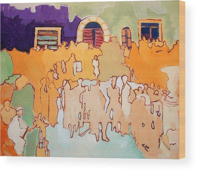 Band Wood Print featuring the painting Banda di Villaggio by Kurt Hausmann