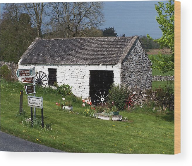 Ireland Wood Print featuring the photograph Barn at Fuerty Church Roscommon Ireland by Teresa Mucha