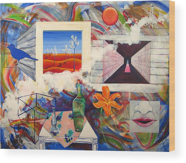 Landscape Wood Print featuring the painting Be Here Now by Rollin Kocsis