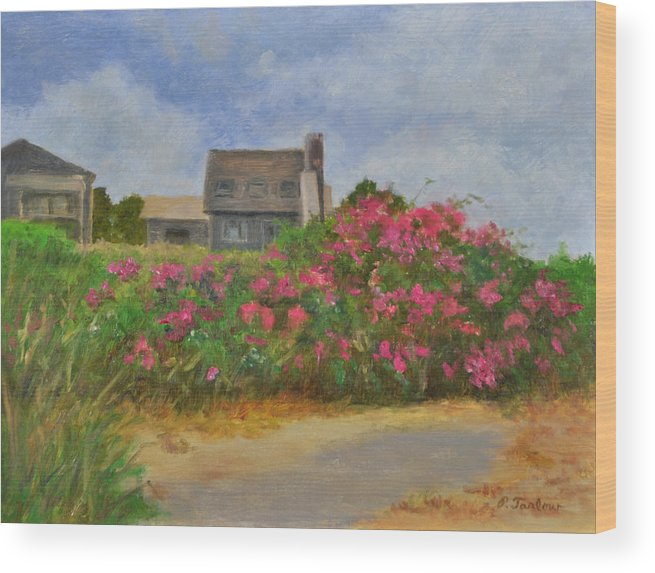Landscape Wood Print featuring the painting Beach Roses and Cottages by Phyllis Tarlow