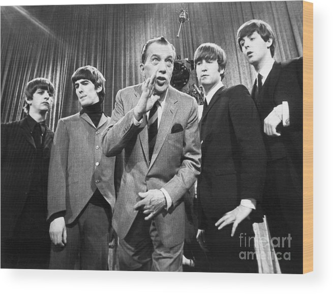 1964 Wood Print featuring the photograph Beatles And Ed Sullivan by Granger