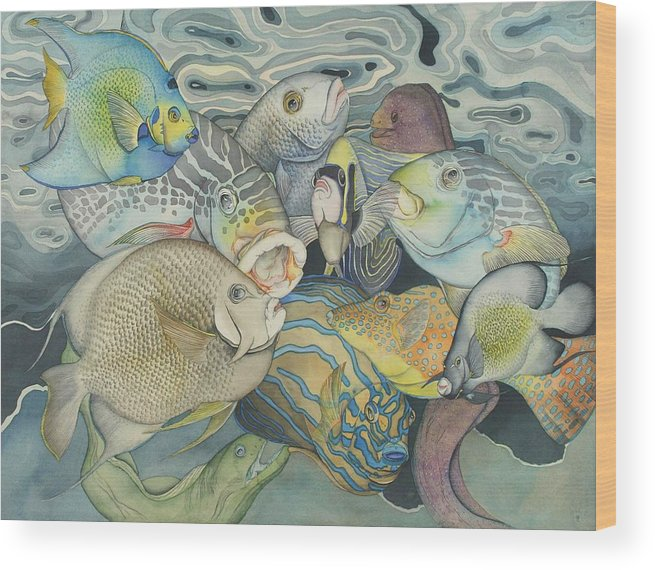 Sea Wood Print featuring the painting Beneath the surface by Liduine Bekman