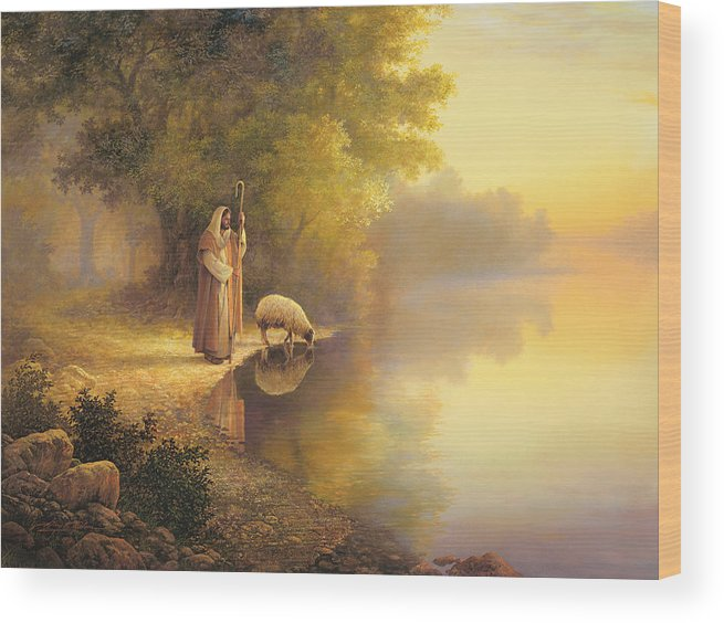 Jesus Wood Print featuring the painting Beside Still Waters by Greg Olsen