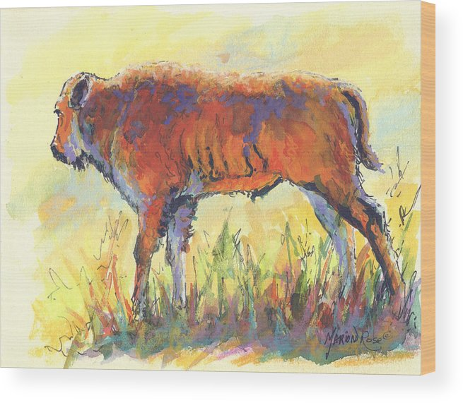 Bison Wood Print featuring the painting Bison Calf by Marion Rose