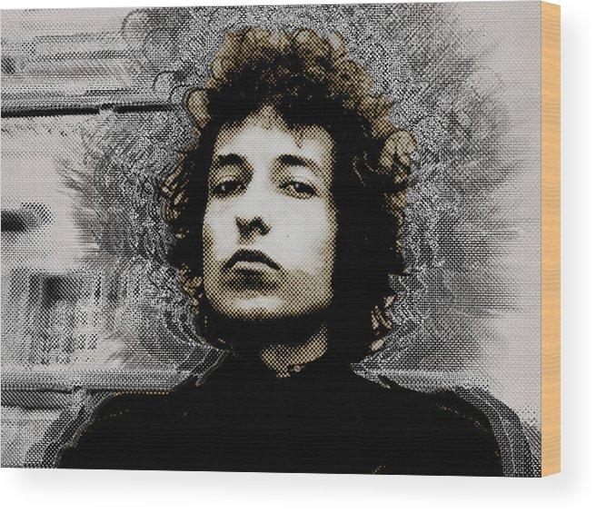 Bob Dylan Wood Print featuring the painting Bob Dylan 4 by Tony Rubino