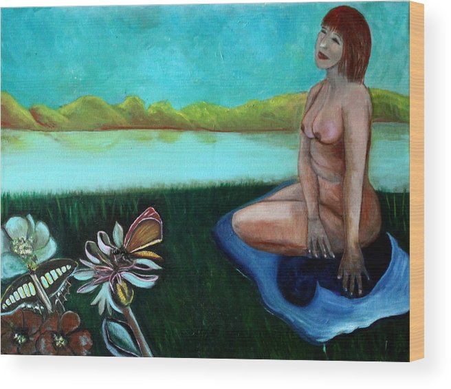 Butterflies Wood Print featuring the painting By the Lake by Pilar Martinez-Byrne