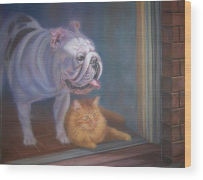 English Bulldogs Wood Print featuring the painting Caesar and Lily by Diane Caudle