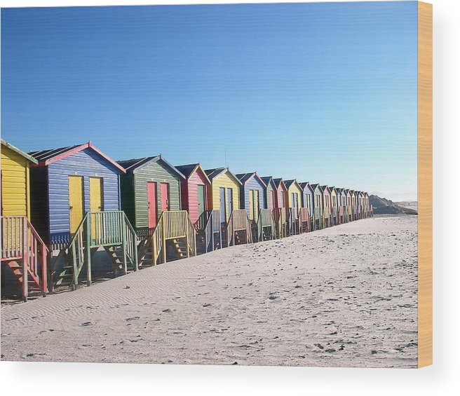 Cape Town Wood Print featuring the photograph Cape Town Beachhuts by Linda Russell
