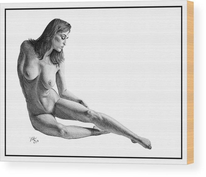 Joe Ogle Wood Print featuring the drawing Carlotta2 ORIGINAL ON SALE by Joseph Ogle