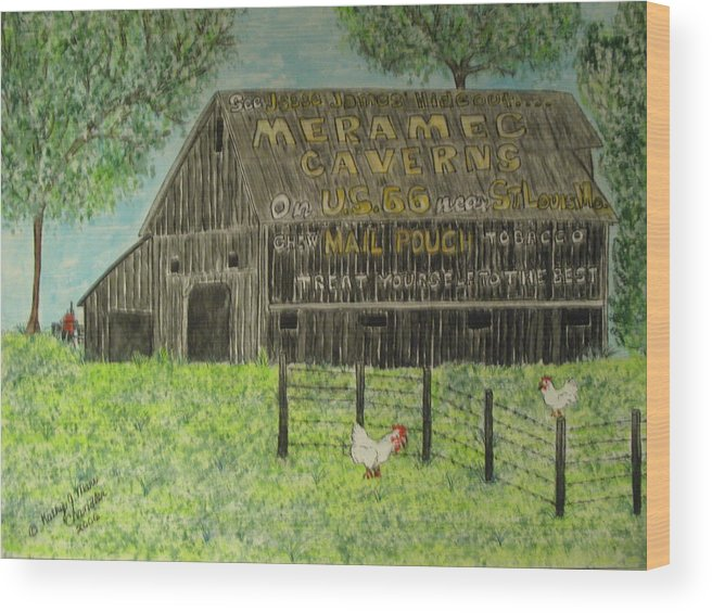 Chew Mail Pouch Wood Print featuring the painting Chew Mail Pouch Barn by Kathy Marrs Chandler