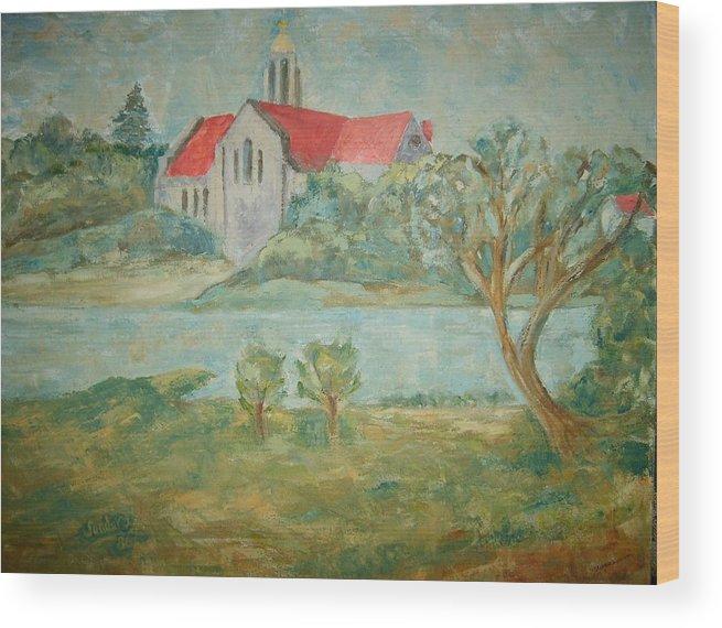 Landscape Churches River Trees Wood Print featuring the painting Church across river by Joseph Sandora Jr