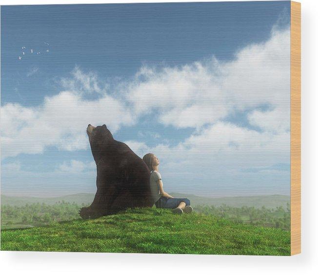 Bear Wood Print featuring the digital art Cloud Watchers by Cynthia Decker