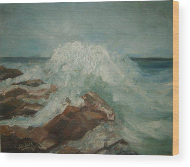 Ocean Surf Rocks Seascape Wood Print featuring the painting Coastal Waters by Joseph Sandora Jr