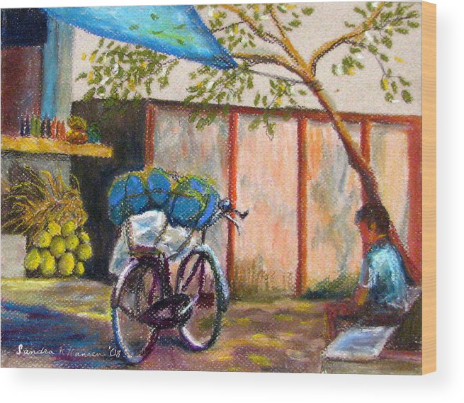 India Wood Print featuring the painting Coconut Stand by Art Nomad Sandra Hansen
