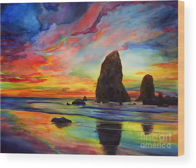 Sunset Wood Print featuring the painting Colorful Solitude by Hailey E Herrera