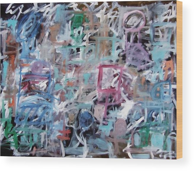 Abstract Wood Print featuring the painting Composition No. 1 by Michael Henderson