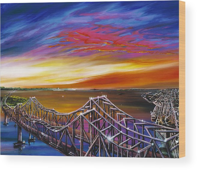 Clouds Wood Print featuring the painting Cooper River Bridge by James Christopher Hill