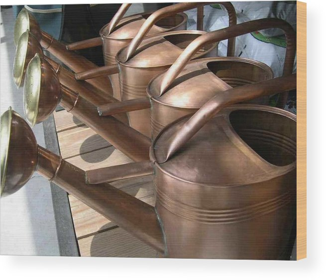 Gardening Wood Print featuring the photograph Copper Watering Cans by Rebecca Marona