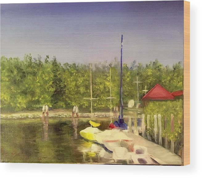 Sailboats Wood Print featuring the painting Curtin's Marina II by Sheila Mashaw