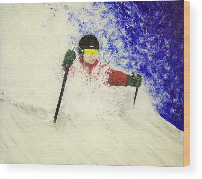Utah Wood Print featuring the painting Deeeep by Michael Cuozzo