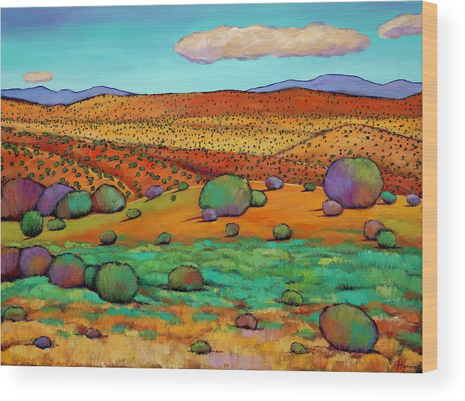New Mexico Desert Wood Print featuring the painting Desert Day by Johnathan Harris