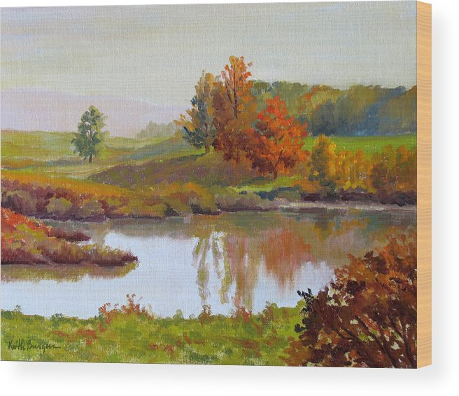 Landscape Wood Print featuring the painting Distant Maples by Keith Burgess
