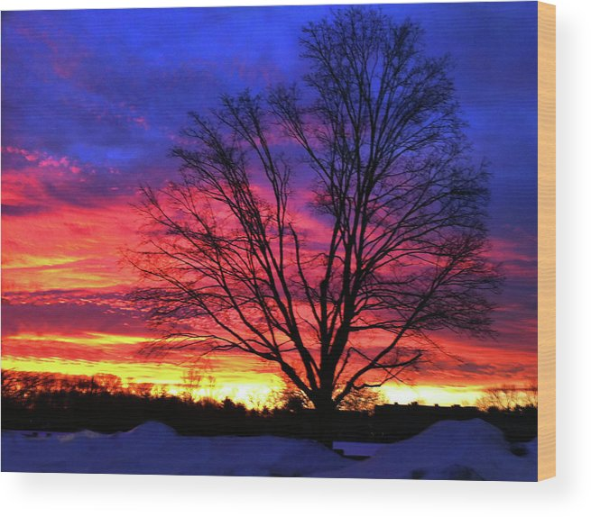 Sunrise Wood Print featuring the photograph Driveby Shooting No. 8 - Valentine's Sunrise by Christine Segalas