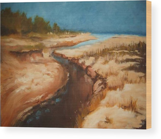 River Bed Wood Print featuring the painting Dry river bed by Nellie Visser