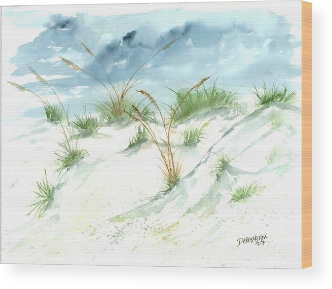 Beach Wood Print featuring the painting Dunes 3 seascape beach painting print by Derek Mccrea