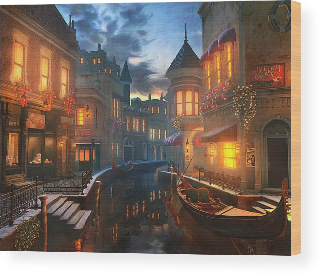Venice Wood Print featuring the painting Enchanted Waters by Joel Payne